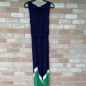 Navy maxi dress with white/green geometric inset